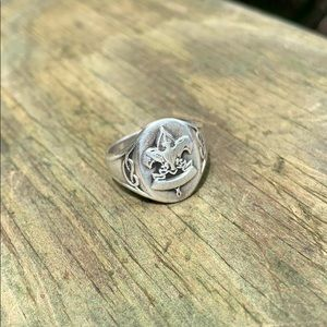 Vintage antique sterling Boy Scout signet ring